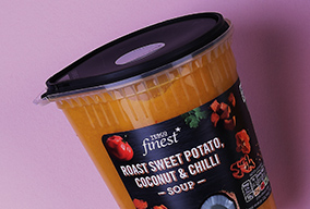 pot of tesco finest sweet potato, coconut and chilli soup