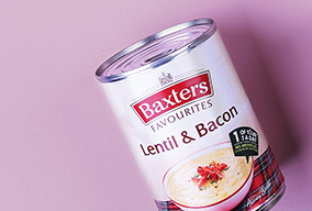 tin of Baxters Lentil and Bacon soup